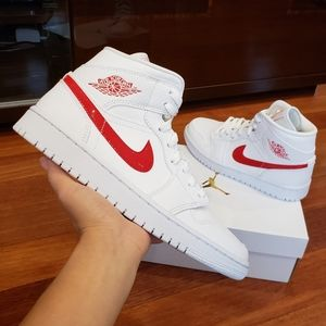 Air Jordan 1 Mid White University Red Sneakers
